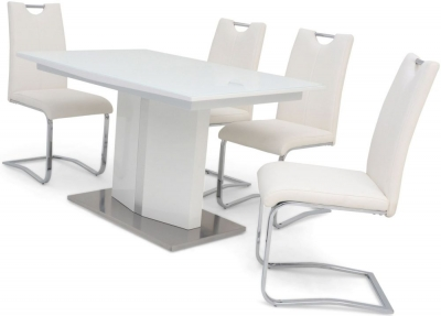 Silvio White High Gloss Butterfly Extending Dining Table and 4 Gabi White Chairs