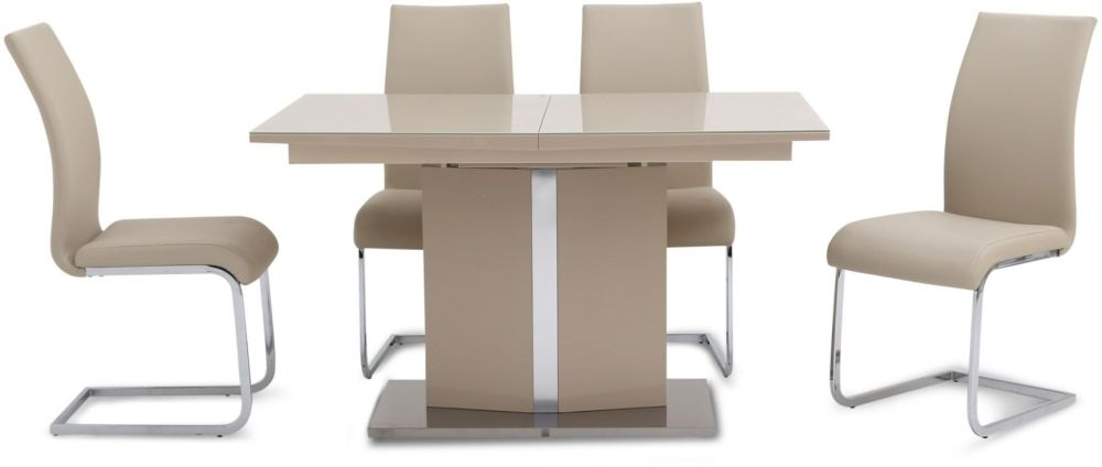 Silvio Cream High Gloss Erfly, Cream Colored Dining Table And Chairs