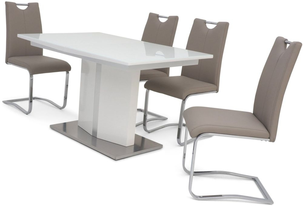 Silvio White High Gloss Butterfly Extending Dining Table and 4 Gabi Taupe Chairs