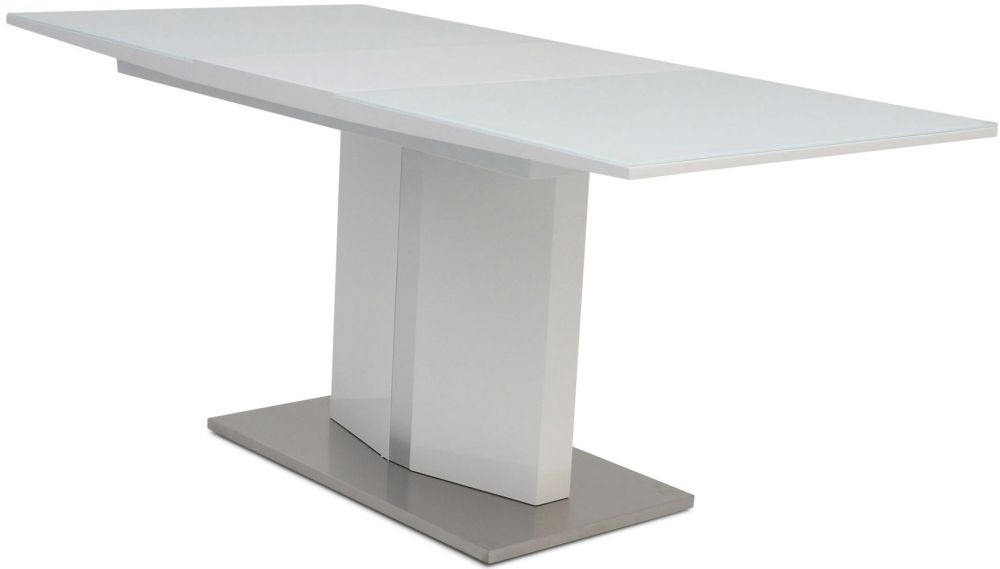 Silvio White High Gloss Dining Table with Glass Top - 130cm-170cm Rectangular Extending