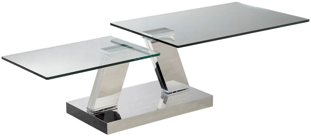 Sparta Glass Coffee Table with Stainless Steel Base - Swivel Extending