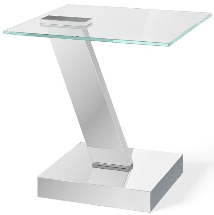 Sparta Side Table - Glass and Chrome