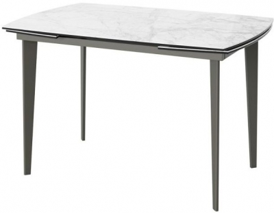 Verdi Light Grey Marble Effect Glass Top Extending Dining Table