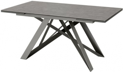 Visage Ceramic Effect Grey Glass Top Extending Dining Table