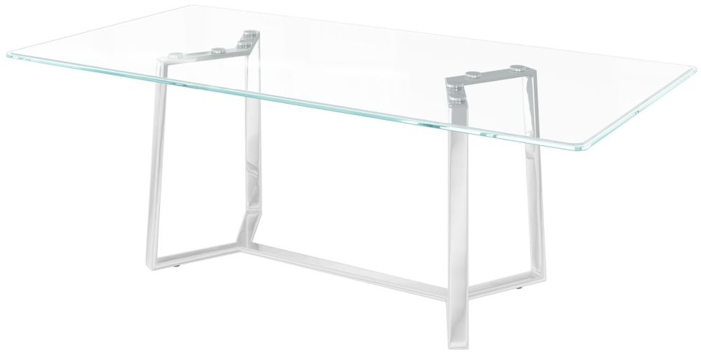 Alberto Glass and Chrome Dining Table