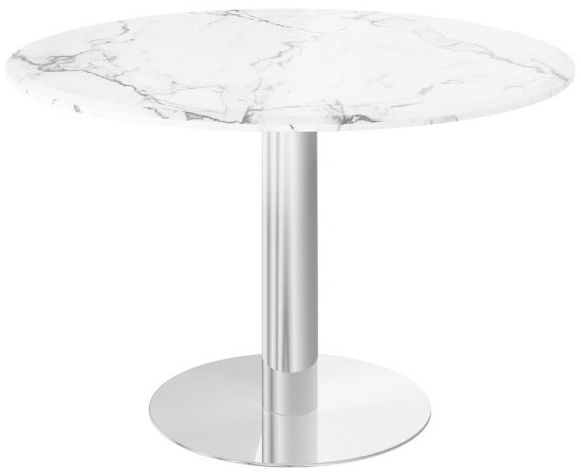 Parma Light Grey Marble and Chrome Round Dining Table
