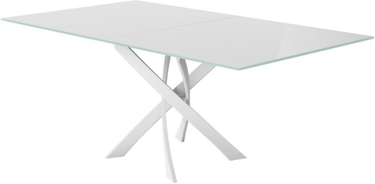 Sirocco White Glass Top Swivel Extending Dining Table