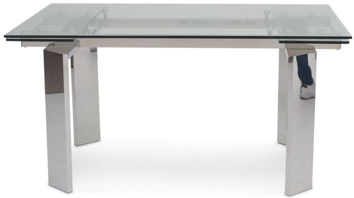 Nataliya Extending Dining Table - Glass and Chrome