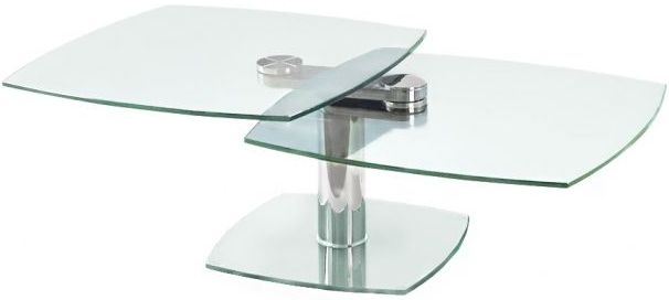 Nero Swivel Extending Coffee Table - Glass and Chrome