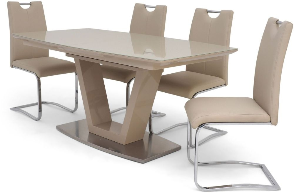 newest e4454 6b81b Valente Cream High Gloss Butterfly Extending Dining Table and 4 Gabi Cream  Chairs