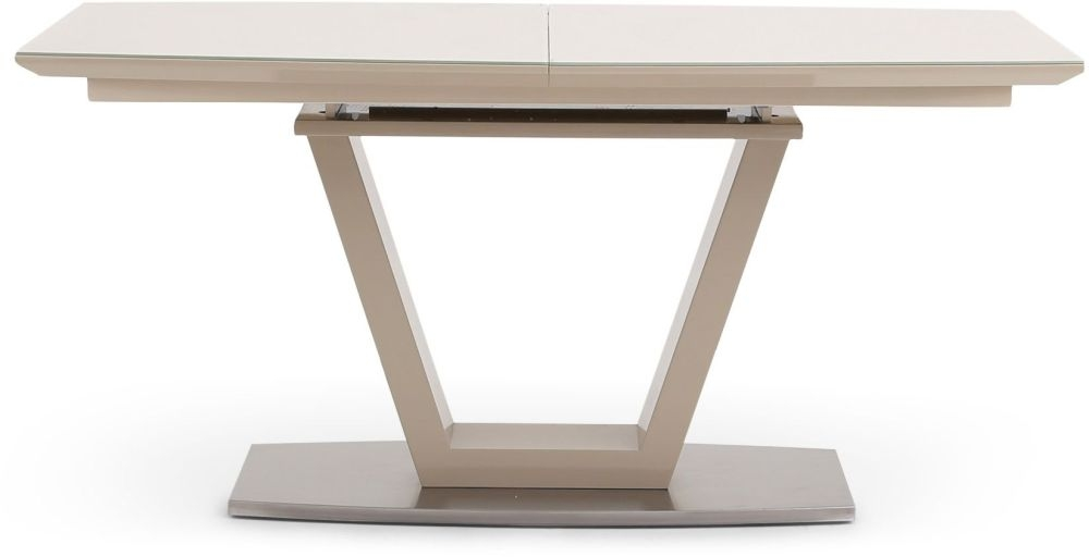 Valente Cream High Gloss Dining Table with Glass Top - 160cm-220cm Rectangular Extending