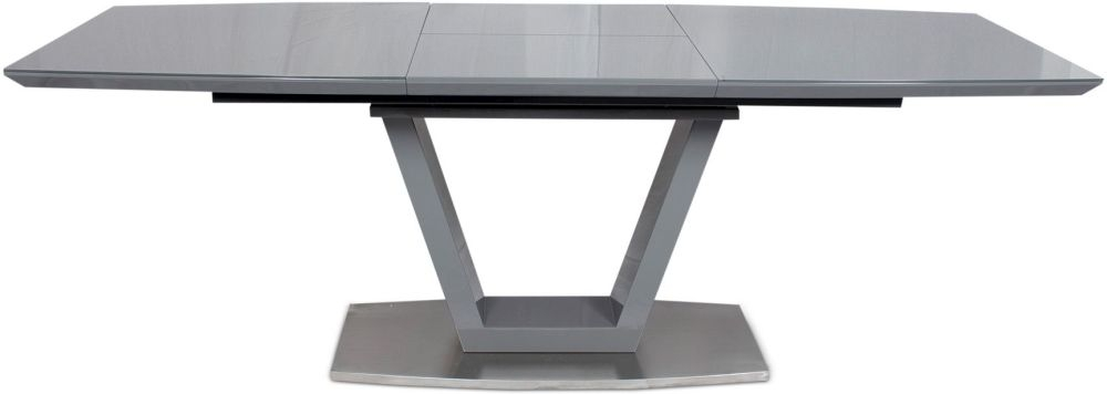 Valente Grey High Gloss Butterfly Extending Dining Table