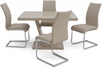 Valentino Cream High Gloss Dining Table and 4 Paolo Cream Chairs