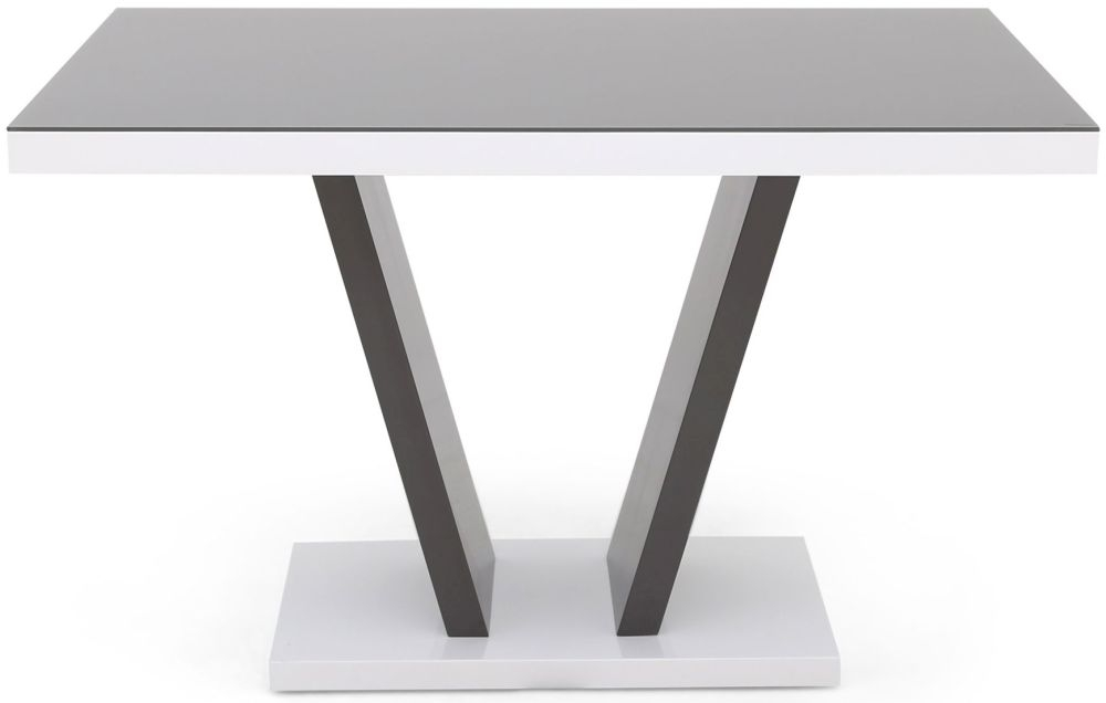 Valentino White and Grey Two Tone High Gloss Dining Table with Glass Top - 120cm Rectangular