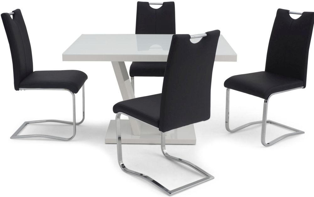 Valentino White High Gloss Dining Table and 4 Gabi Black Chairs
