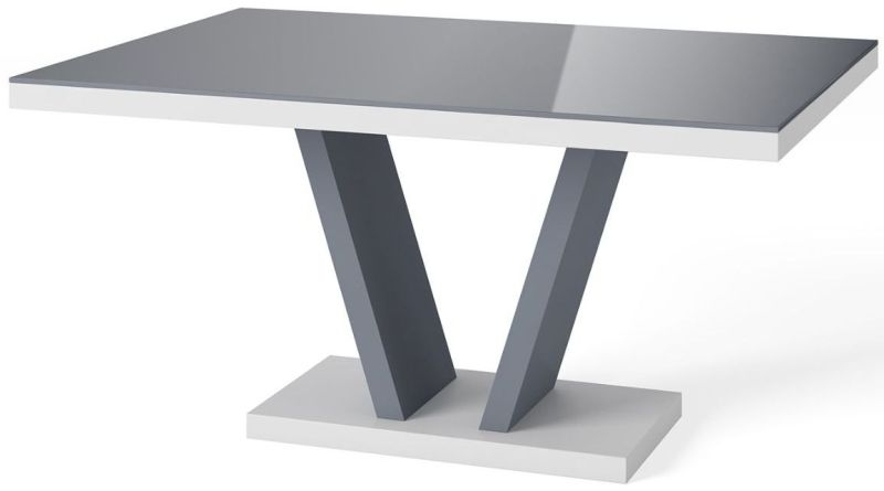 Valentino High Gloss Dining Table - Grey and White