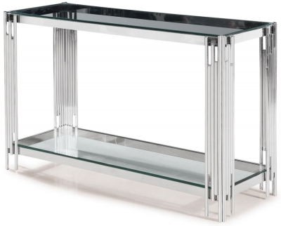 Vasari Console Table - Glass and Chrome