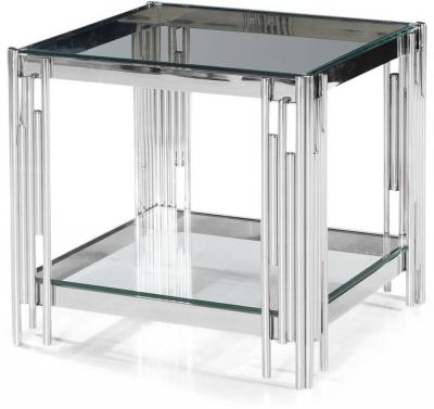 Vasari Side Table - Glass and Chrome