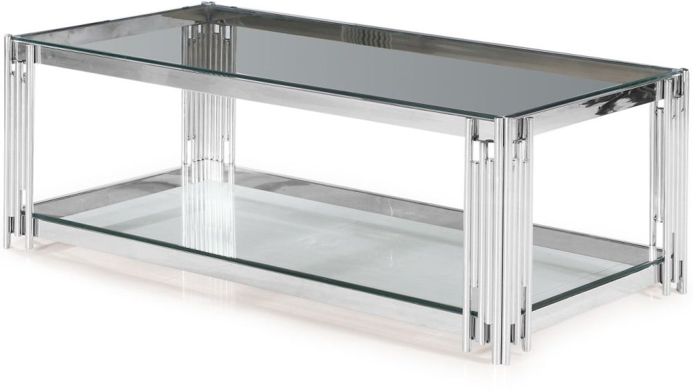 Vasari Glass Coffee Table with Stainless Steel Frame