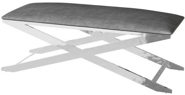 Vertue Dark Grey Plush Velvet and Chrome Bench