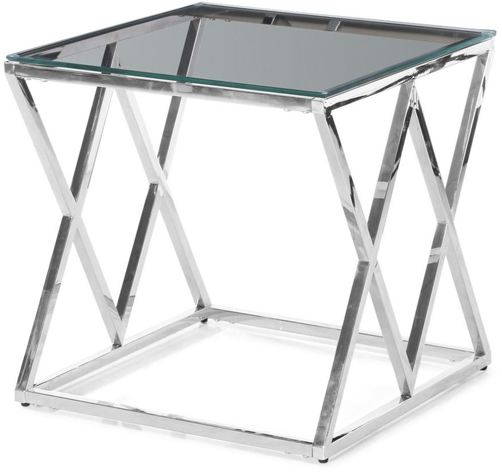 Buy Victor Glass Side Table with Stainless Steel Frame Online - CFS UK
