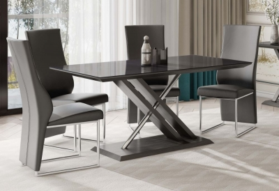 Xavi Black Glass Top and Grey Walnut Dining Table with 4 Remo Grey Chairs