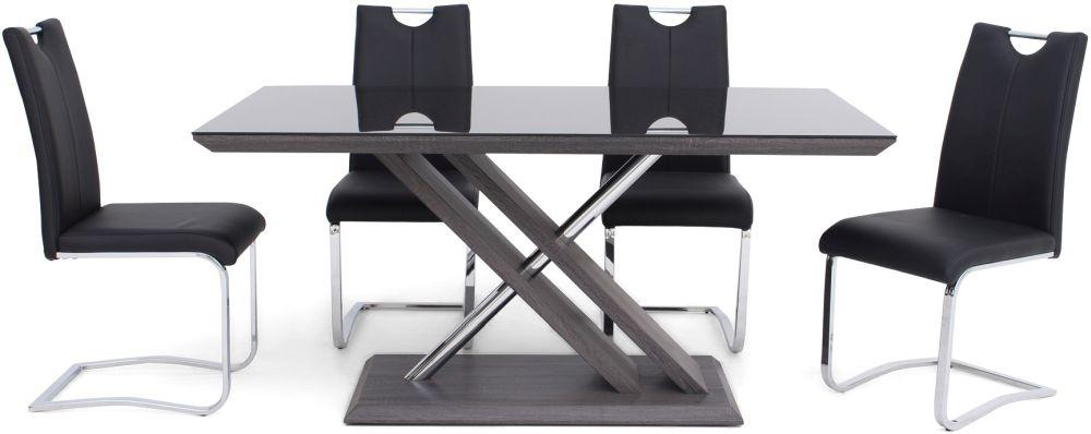 Xavi Grey Walnut Dining Table and 4 Gabi Black Chairs