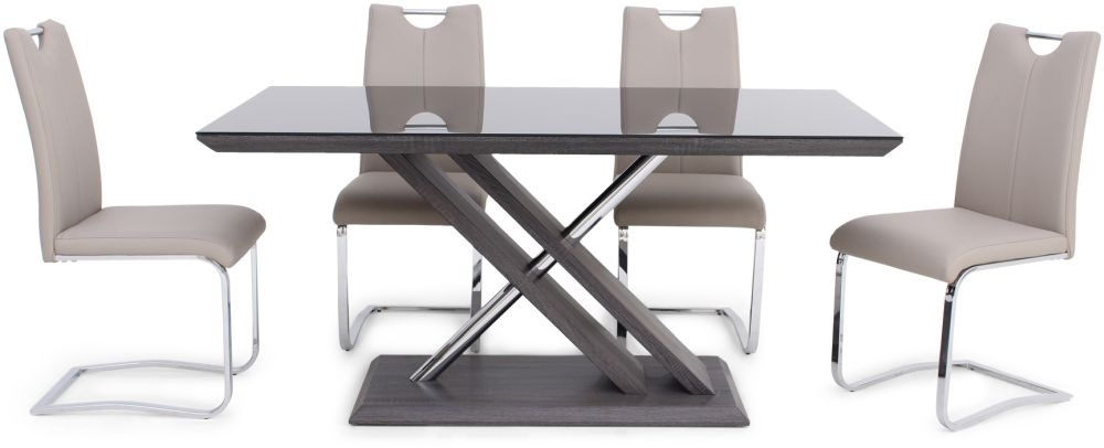 Xavi Grey Walnut Dining Table and 4 Gabi Taupe Chairs