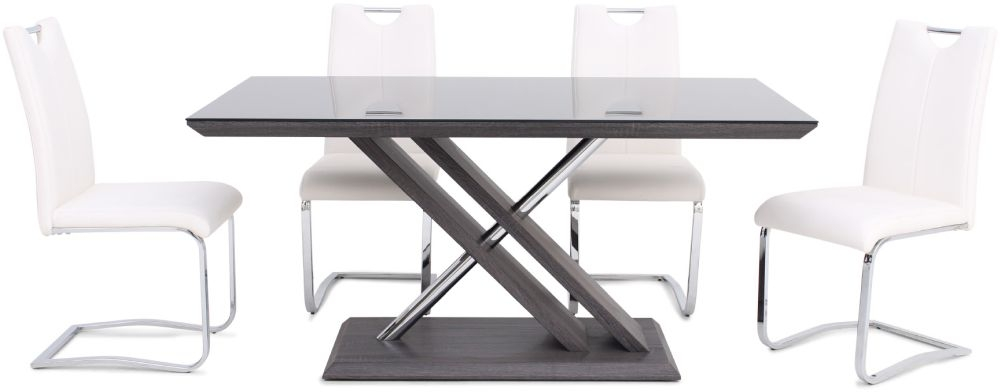 Xavi Grey Walnut Dining Table and 4 Gabi White Chairs