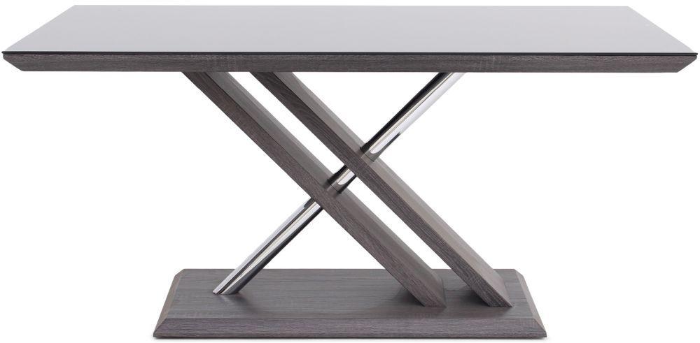 Xavi Grey Walnut Dining Table with Glass Top - 160cm Rectangular