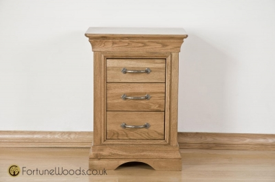 Bordeaux Oak Bedside Cabinet - 3 Drawer High