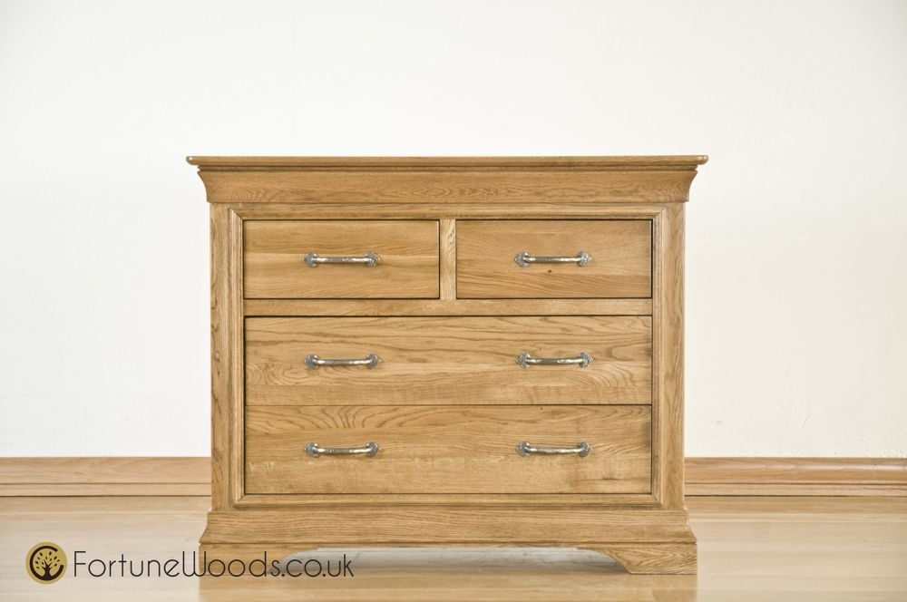 Bordeaux Solid Oak Chest of Drawer - 2+2 Drawer