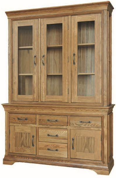Bordeaux Oak Glass Dresser - 4ft 6in