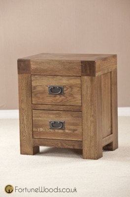 Boston Oak Bedside Cabinet - 2 Drawer