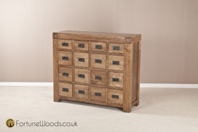Boston Oak Chest of Drawer - 16 Drawer