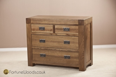 Boston Oak Chest of Drawer - 2+2 Drawer