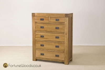 Boston Oak Chest of Drawer - 4+2 Drawer