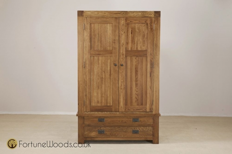 Boston Oak Gent Double Wardrobe - 2 Door 2 Drawer