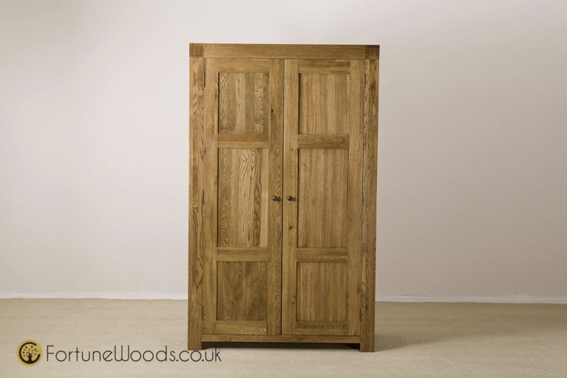 Boston Oak 2 Door Double Wardrobe