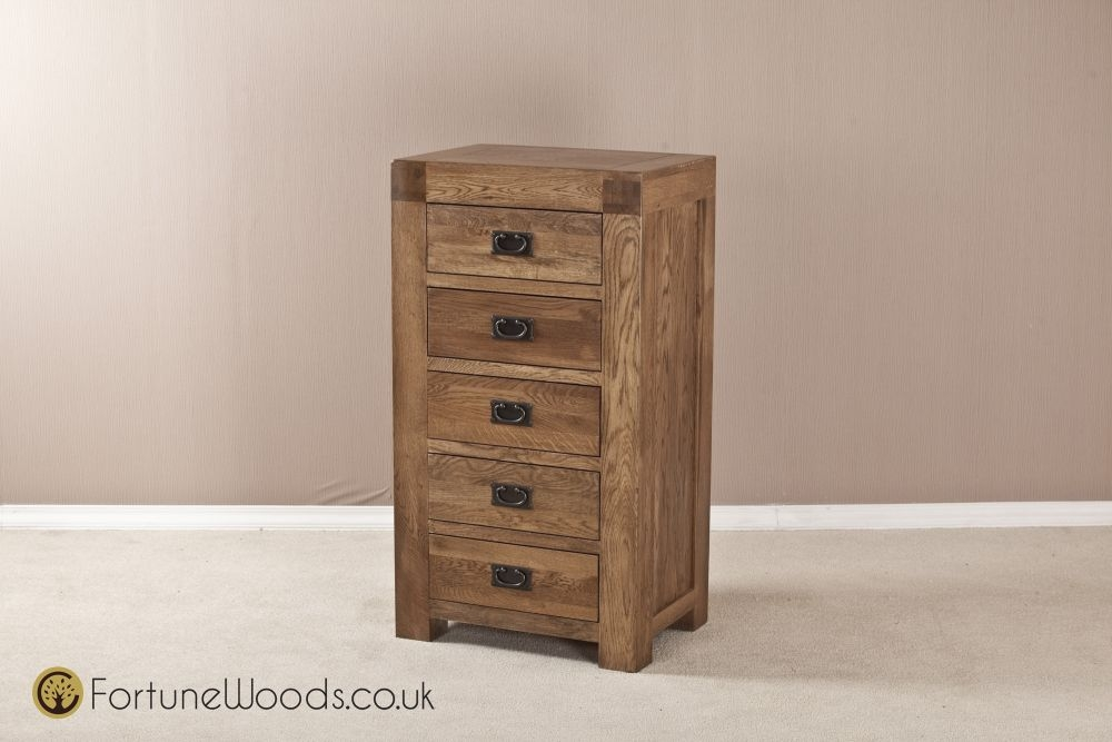 Boston Oak Wellington Chest of Drawer - 5 Drawer