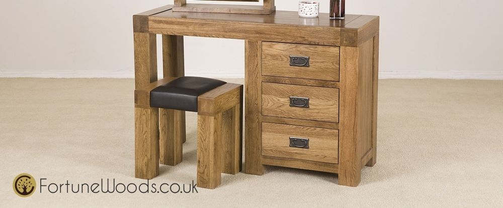 Boston Oak Dressing Table - Single Pedestal