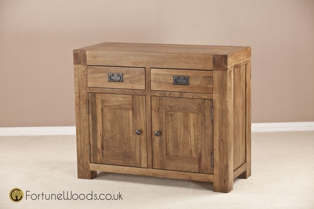 Boston Oak Sideboard - Small Narrow 2 Door 2 Drawer