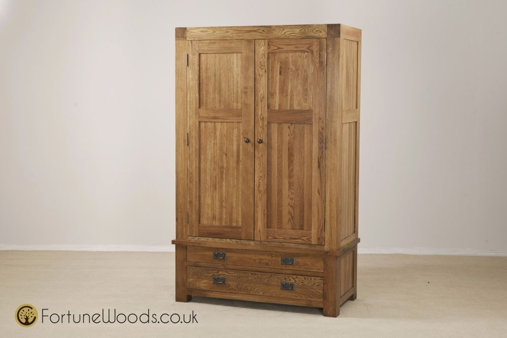 Boston Oak Wardrobe - 2 Door 2 Drawer Gents