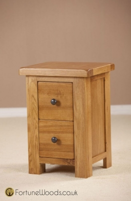 Cotswold Oak Bedside Cabinet - 2 Drawer