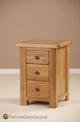 Cotswold Oak Bedside Cabinet - 3 Drawer High