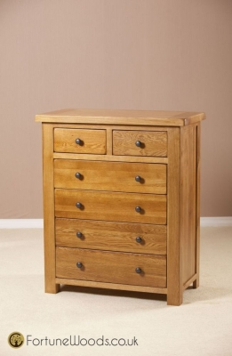 Cotswold Oak Chest of Drawer - 4+2 Drawer