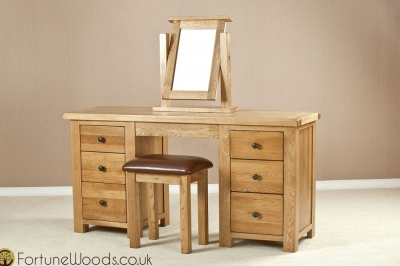 Cotswold Oak Dressing Table - Double Pedestal