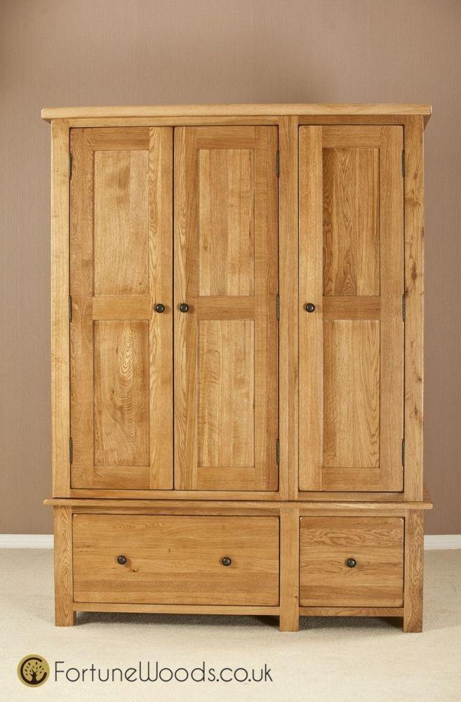 Cotswold Oak Wardrobe - 3 Door 2 Drawer