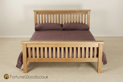 Country Oak Bed - High Foot End