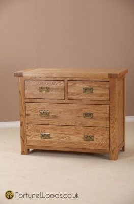 Country Oak Chest of Drawer - 2+2 Drawer